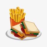 三明治和炸薯条设计 向量例证