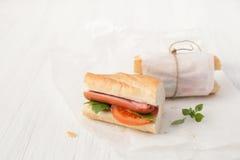 三明治用在白色背景的香肠 库存图片