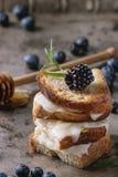 三明治用山羊乳干酪和莓果 免版税库存照片