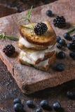 三明治用山羊乳干酪和莓果 免版税库存图片