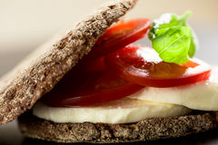 三明治用无盐干酪蕃茄和黑麦面包 免版税库存图片