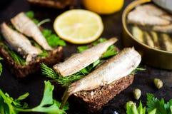 三明治用沙丁鱼 库存照片