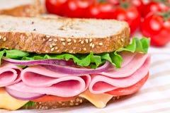 三明治用火腿、干酪和蕃茄 库存照片