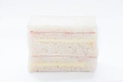 三明治用火腿和乳酪在白色背景 库存图片