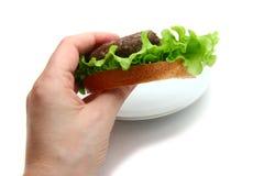 三明治用炸肉排在手中 免版税库存图片