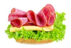 三明治用蒜味咸腊肠和干酪 库存图片
