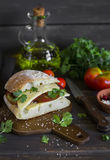 三明治用蕃茄和乳酪,供食在黑暗的木表面上的一个切板 库存图片