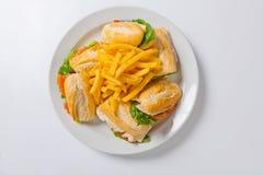 三明治的不同的类型用在一块白色板材的炸薯条 图库摄影