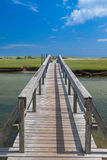 三明治的,马萨诸塞,美国著名镇脖子海滩木板走道 库存图片