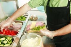 三明治被做 免版税库存照片