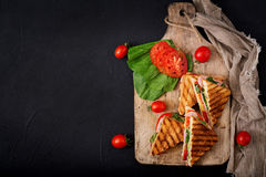 三明治panini用火腿 免版税库存图片
