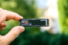 三星870赞成NVME PCIE SSD新快速 库存图片