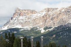 三望远镜被安置敬佩积雪覆盖的山的风景 免版税库存图片