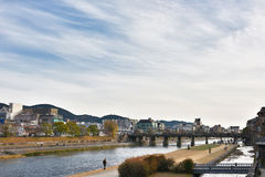 三条桥梁在Kamo河京都日本 免版税图库摄影