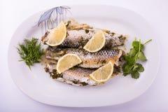 三条梭鱼炖煮的食物 库存照片