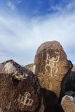 三条河刻在岩石上的文字站点 免版税库存图片
