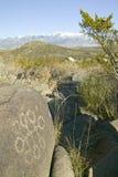 三条河刻在岩石上的文字全国站点, a (BLM)局土地管理站点,特点超过21,000当地美洲印第安人pe 免版税库存图片