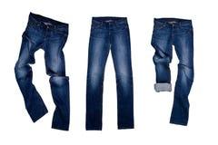 三条蓝色牛仔裤 库存图片