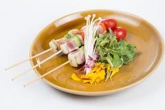 三条调味的鱼烤肉 免版税库存图片