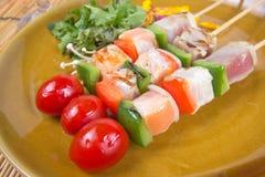 三条调味的鱼烤肉 免版税图库摄影