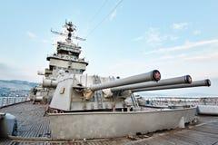 三枪主要火MK-5 bis的塔楼设施152 mm 免版税库存照片