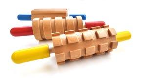 三根五颜六色的滚针 免版税库存图片