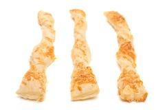 三根白色被隔绝的乳酪棍子 免版税库存照片