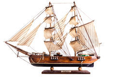 三桅帆模型 库存图片