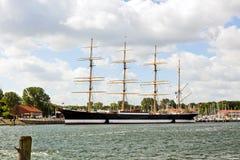 三桅帆港口有历史的passat钢travemunde 库存照片