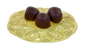 巧克力樱桃被填装的小垫布 库存图片