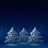 三棵白色圣诞节树 库存照片