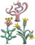 三棵滑稽的植物-开花与结、树与触手和花与冠 库存照片