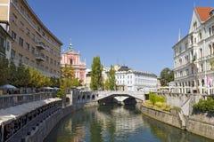 三次桥梁,卢布尔雅那,斯洛文尼亚 库存照片