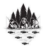 三渔夫坐有标尺的河岸 库存图片