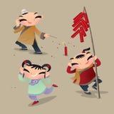 三演奏爆竹的中国孩子 向量例证
