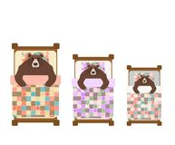 三熊睡眠在床上 睡觉北美灰熊 也corel凹道例证向量 皇族释放例证