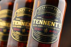 三瓶ofTennents威士忌酒橡木啤酒 库存图片