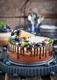三用奶蛋烘饼锥体装饰的巧克力沫丝淋蛋糕,新bl 库存图片