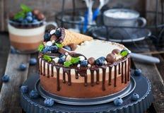三用奶蛋烘饼锥体装饰的巧克力沫丝淋蛋糕,新bl 免版税库存照片