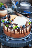 三用奶蛋烘饼锥体装饰的巧克力沫丝淋蛋糕,新bl 库存照片