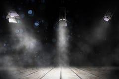 三盏聚光灯发光阶段 免版税库存图片