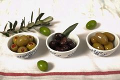 三种类橄榄和年轻橄榄树枝在布料餐巾 库存图片