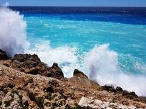 三种颜色的风雨如磐的地中海在尼斯法国 免版税库存照片