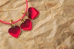 三红色心脏 免版税库存图片
