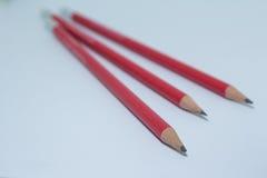 三红色铅笔 免版税库存图片