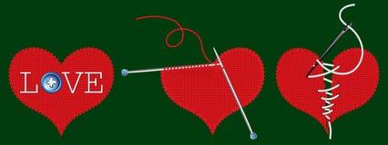 三编织了红色心脏 免版税库存照片