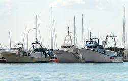 三艘捕鱼船 库存图片