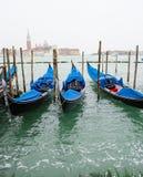 三艘长平底船在大运河的,意大利威尼斯 库存照片