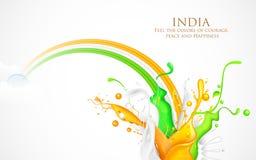 三色印度的五颜六色的飞溅 免版税库存照片