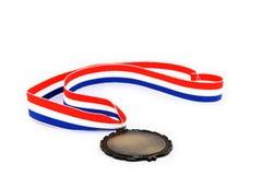 三色奖牌的丝带 免版税库存照片